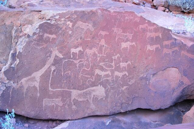 Bushman paintings bij Twyfelfontein, Namibie